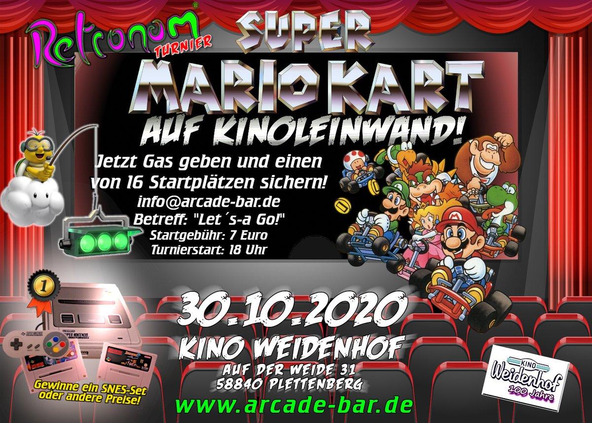 Vor dem #Lockdown nochmal was Besonderes erleben! Diesen #freitag , #MarioKart -Turnier auf Kinoleinwand! Nur noch fünf Startplätze sind frei, jetzt anmelden unter info@arcade-bar.de ! 🥳🏎🏎🏎🏎 #retronomarcade #kino #Nintendo #SuperNintendo #SNES #gamers https://t.co/9vpfApOLq5
