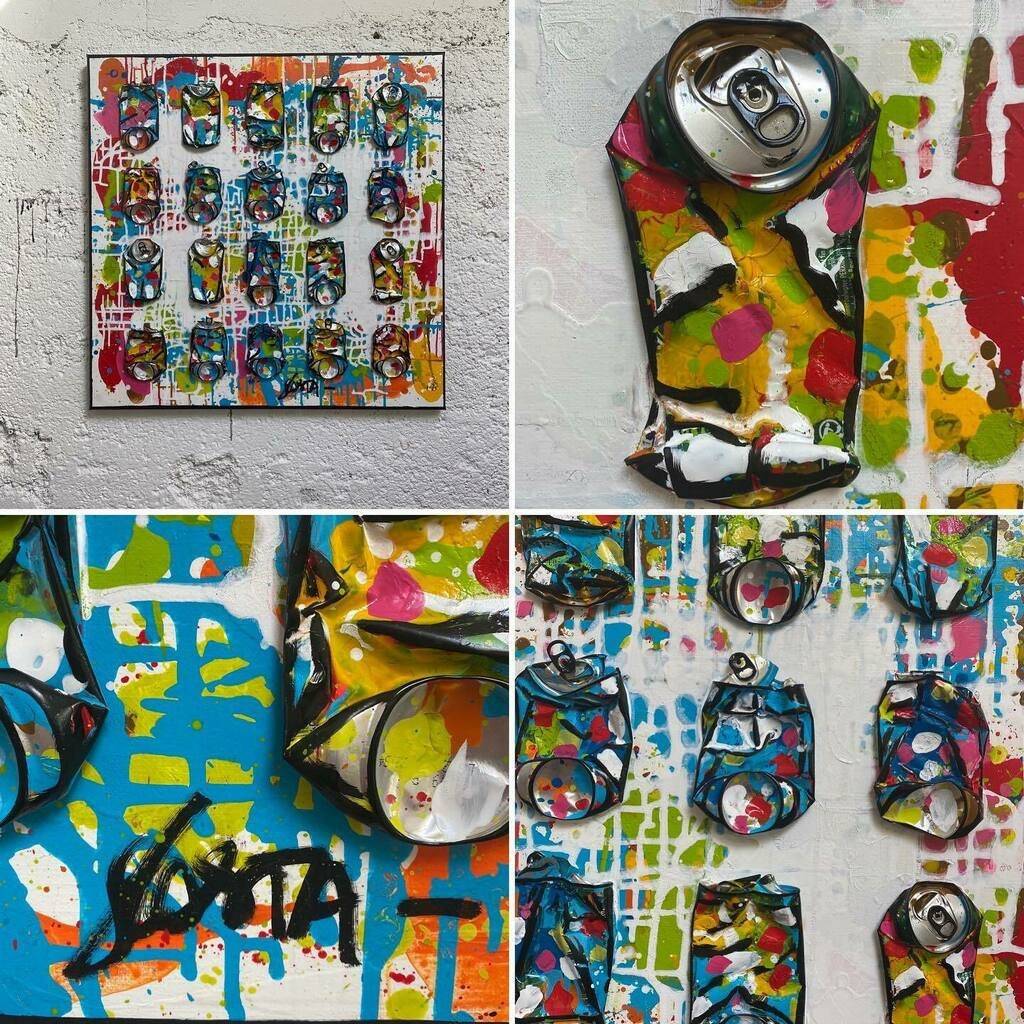 Nouveau ! «MOVE», 80x80 cm. #upcycling #collage #crushedcans #visualart #colorfulpainting #artcollector #artcurator #interiordesign #architectedinterieur https://t.co/qiekYHHniJ https://t.co/kEC2rCY8Je