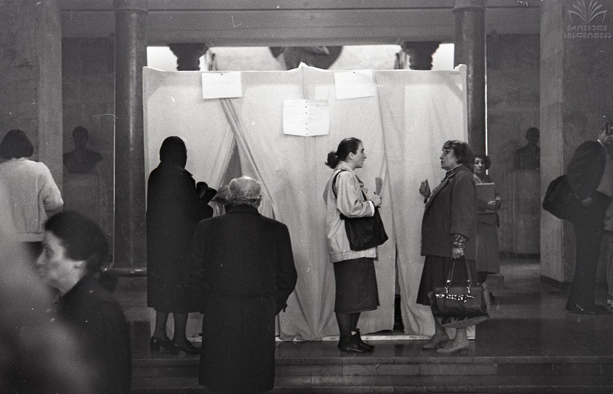 #OTD in 1990, #Georgia'ns voted in the first free & competitive parliamentary election since 1919, putting an end to 70-year-long rule of the Communist Party. https://t.co/AKBESOHJC3