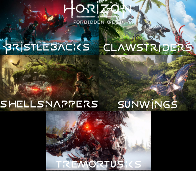 We know some of the new machines coming in #HorizonForbiddenWest!   1: Bristlebacks 2: Clawstriders 3: Shellsnappers 4: Sunwings   5: Tremortusks  Im sure we will see many many more, and maybe even see a damn metal devil move!? :OOO #PlayStation5 #PlayStation4 #PS5 #PS4 #machines https://t.co/9XKENfpF1u
