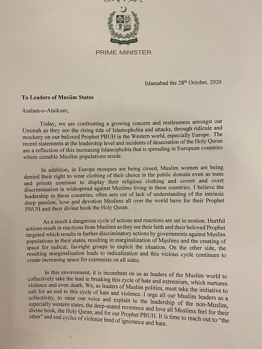 My letter to leaders of Muslim states to act collectively to counter the growing Islamophobia in non-Muslim states esp Western states causing increasing concern amongst Muslims the world over. https://t.co/OFuaKGu2c1