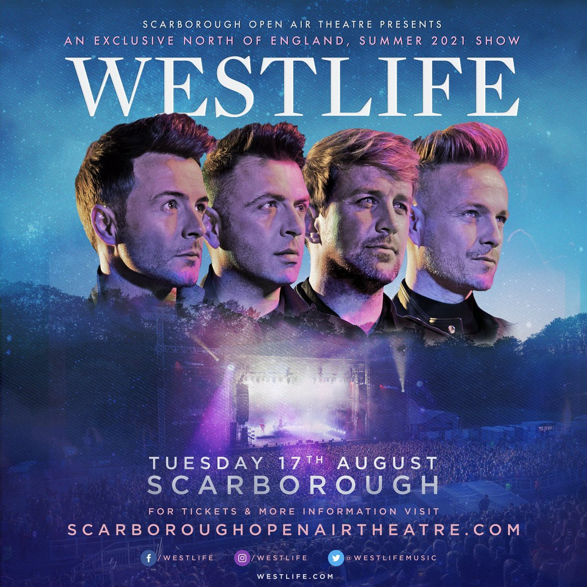 Presale // Get early access to tickets for @westlifemusic at Scarborough Open Air Theatre in August 2021. Presale begins 9am Thursday: https://t.co/aJiVgUFxMv https://t.co/6UtLGWJwyA