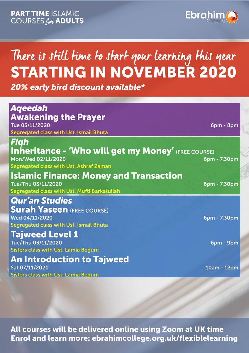 PART TIME COURSES START NEXT WEEK Enrol now: https://t.co/tdkf3nQikn #islamicstudies #parttimecourses #Arabic https://t.co/20et13T7uz