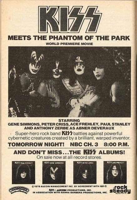 October 28th 1978, #Kiss released their debut film 'Kiss Meets the Phantom of the Park'. 🎶  The film was shown on #NBC 📺 https://t.co/tLyjTivvIQ