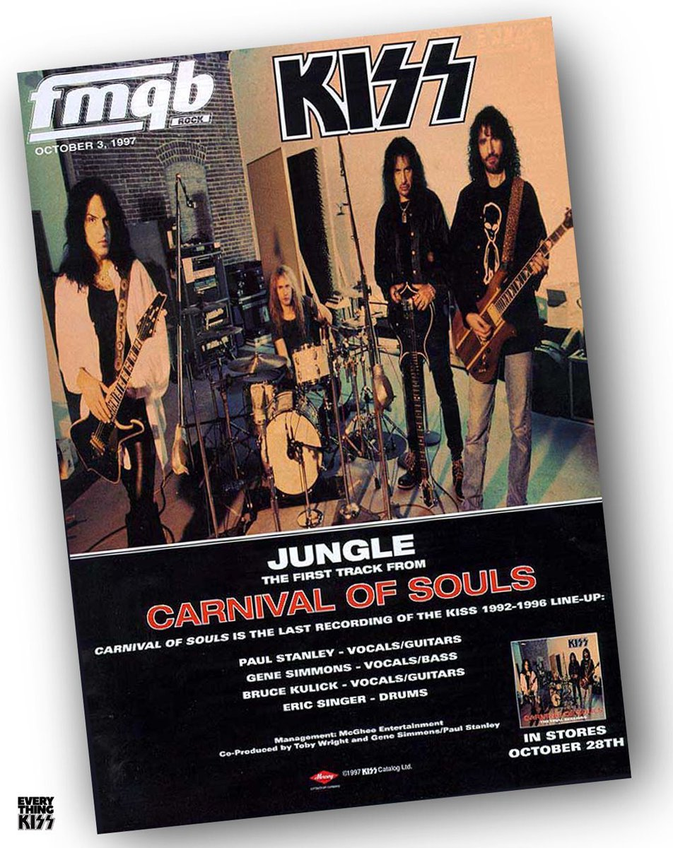 On this day in 1997, Mercury were forced to release the shelved album - CARNIVAL OF SOULS: THE FINAL SESSIONS. Here is the album on the cover of FMQB Magazine…  What do YOU think of the album? Fave track?  #kiss #merchandise #collectingkiss #carnivalofsouls #nineties #grunge https://t.co/SQTTooqT2J