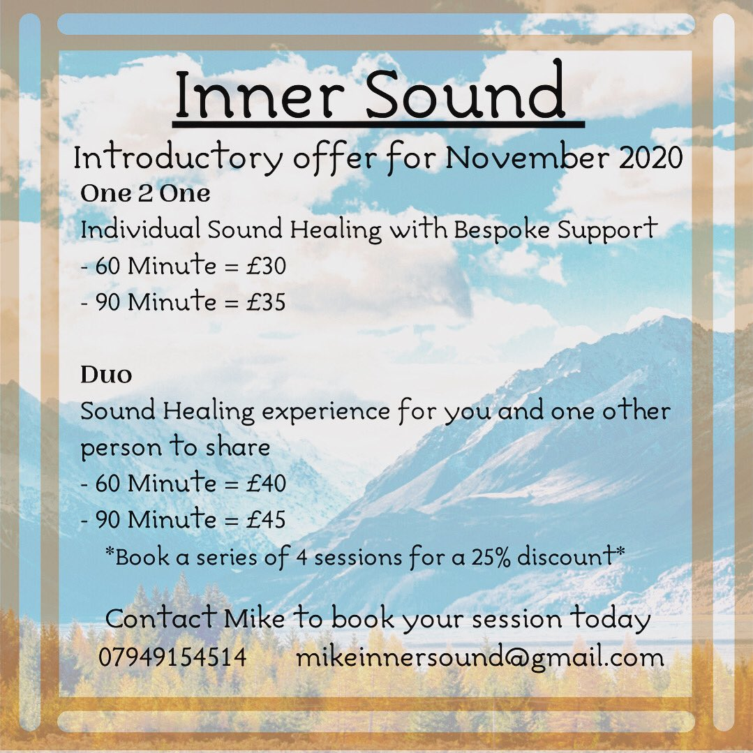 If you live in or near #westyorkshire and need some time to #rest and #restore - I'd love to hear from you. I'm offering #soundhealing sessions available to book today 🙏 mikeinnersound@gmail.com #yoga #meditate #wellbeingwednesday https://t.co/G1s6GAECYQ