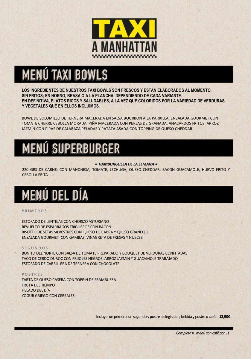 Te dejamos el menú del día ❤️ #menudeldia #menu #madrid #restaurante #food #comida #foodie #bar #restaurant #gastronomia #azca #instafood #gastro #spain #malasaña #instagood #granvia #foodies #restaurantesmadrid #menudiario #taxiamanhattan #gourmet #casera #venezolanosenmadrid https://t.co/TQvsgjNRaW