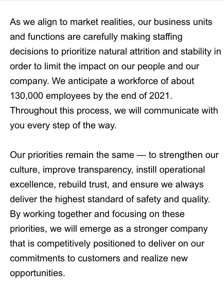 In late April @Boeing said it had a workforce of about 160,000 when it announced job cuts. Now it plans to further reduce headcount to about 130,000 by end of 2021 https://t.co/qNz0iaEAy9 https://t.co/gj2nVxjkBL