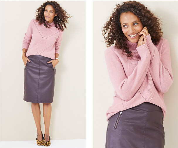 The Must Have Leather Look Skirt Wear now with a chunky knit for a warm casual look. Shop the look: bit.ly/3hurb2F #over50fashion #ageisjustanumber #fashionover50 #summerfashion⁠ #denim #jacket