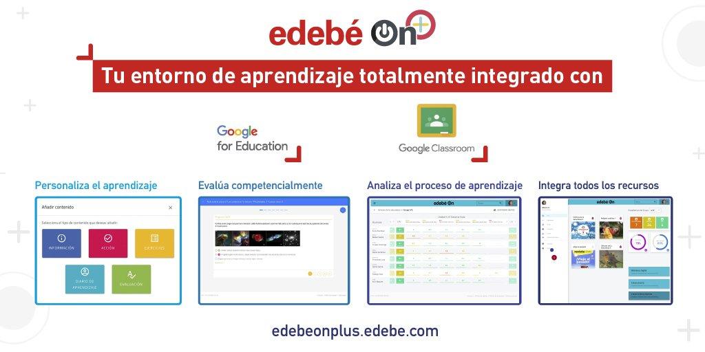 📌edebé On Plus totalmente integrado con G Suite for Education y Google Classroom. Podrás editar y personalizar al 100% los contenidos, sacar analíticas y ADI, un asistente de #InteligenciaArtificial🧠que te ayudará en tu tarea diaria. https://t.co/LnG5kQtHSD  #Neurociencia🖥️📱 https://t.co/fsLCXuRO9n
