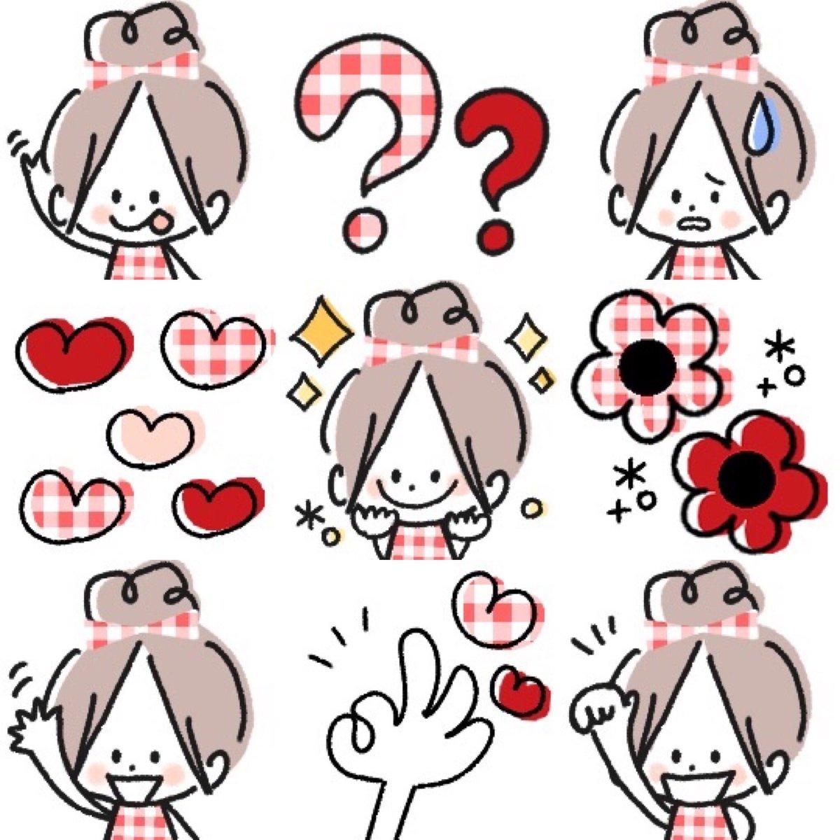 #LINE絵文字 #イラスト好きさんと繋がりたい #可愛い #ゆるかわ リリースしました😃✨❤️おダンコガール♡     毎日の絵文字4❤️赤いチェックがかわいい女の子です。毎日のメッセージに使いやすい絵文字です。よろしくお願いします🙇♀️💕