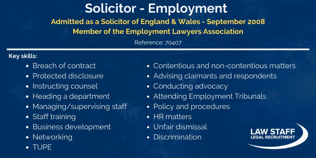 ★ FEATURED CANDIDATE ★  Employment #Solicitor with 12 yrs' PQE is available on a #permanent basis in #WestYorkshireand is willing to relocate  For more info contact @NKLawStaff:  📞 01945 208 080 💻 nkirkby@law-staff.co.uk  #law #legalprofession #legalrecruitment https://t.co/8Fbzbww8n1