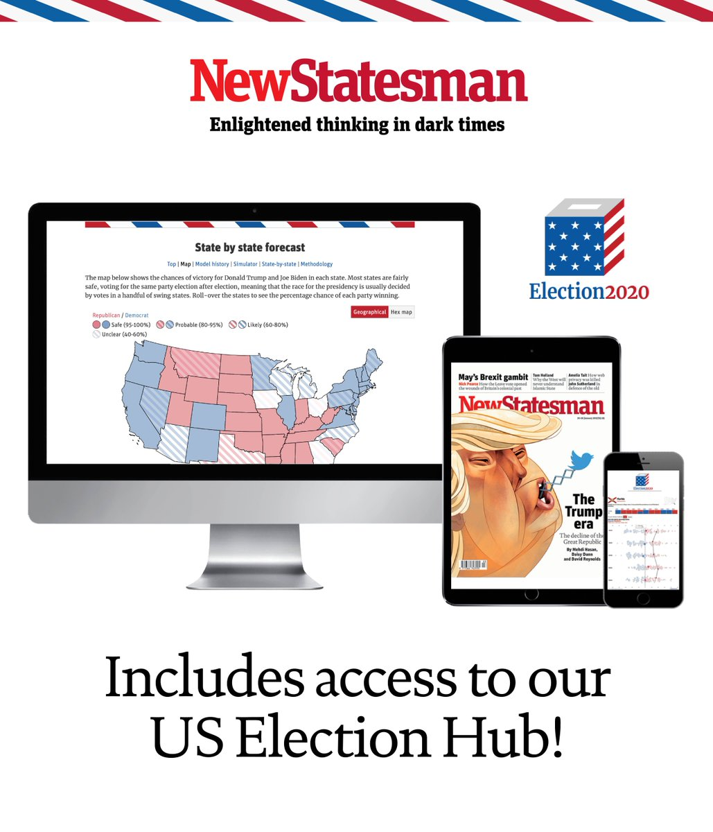 Subscribe now to the New Statesman for just £12 and get full access to our US election hub including the latest forecast on the NS results model, a live blog with interactive charts and graphics, swing state stories, in-depths profiles and analysis: tinyurl.com/y46hujn5