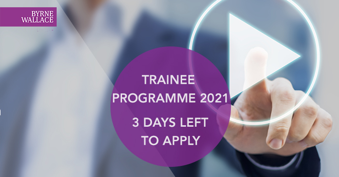 Considering applying for the @ByrneWallace Trainee Solicitor Programme? 3 days to go until the deadline for applications. Apply now, https://t.co/tPacorIPDs #law #BWTrainee #career #solicitor https://t.co/50joja64g3