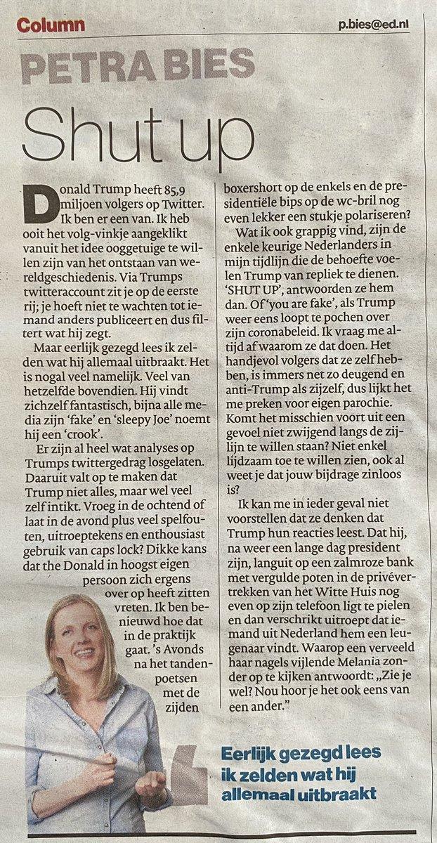 test Twitter Media - Petra for President! | Wederom een nauwkeurig filerende #column van Petra Bies @PetraBies in het Eindhovens Dagblad @ED_Eindhoven van woensdag 28 oktober 2020 https://t.co/UNfJgrZrXy