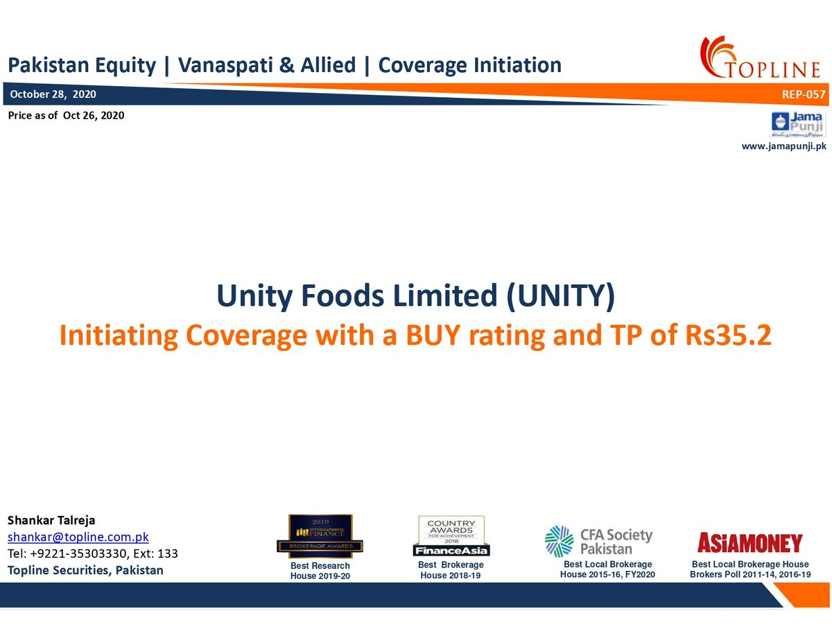 Unity Foods Limited (UNITY): Initiating Coverage with a BUY rating and TP of Rs35.2 #PSX #KSE100 #FrontierMarkets #EmergingMarkets #Topline #Pakistan #PakistanStockExchange #Economy #COVID19 #Foods For Full Report https://t.co/KR24qNlk3l https://t.co/aIaG16o4GU
