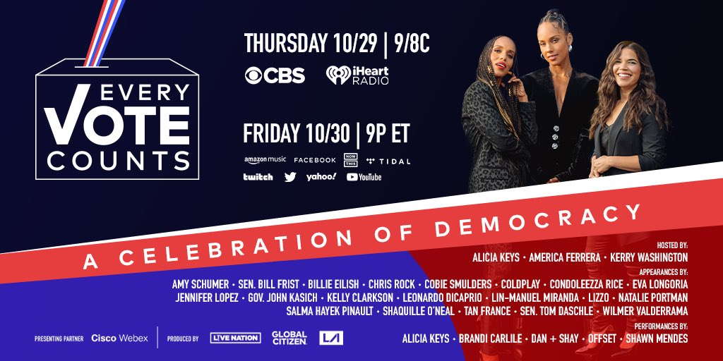 When we all vote, we can make a difference in the world. That's why it's so important to show up! Join me for #EveryVoteCounts to celebrate our power. Tune in tomorrow, Oct. 29 at 9pm / 8 pm CT on @CBS:https://t.co/cv6tGXb1RO https://t.co/J2oMjJssAN