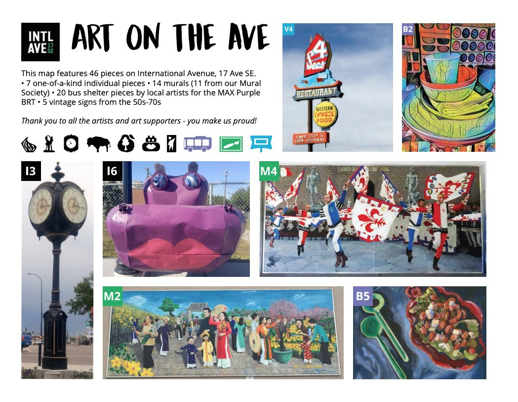 #IntAve has art, and we want you to see it! We've designed this interactive map featuring over 45 pieces of art complete with history!  Interactive Map Link: https://t.co/liabLzrmc6  #ILoveForestLawn #17AveSE #Community #CalgaryArt https://t.co/V5a2EnhcE9