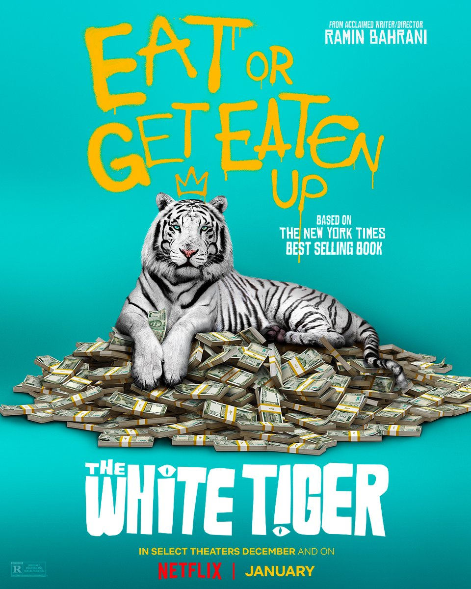 First teaser poster for The White Tiger, a new film from executive producers @ava DuVernay and @priyankachopra and writer-director Ramin Bahrani. On @netflix globally January 22.