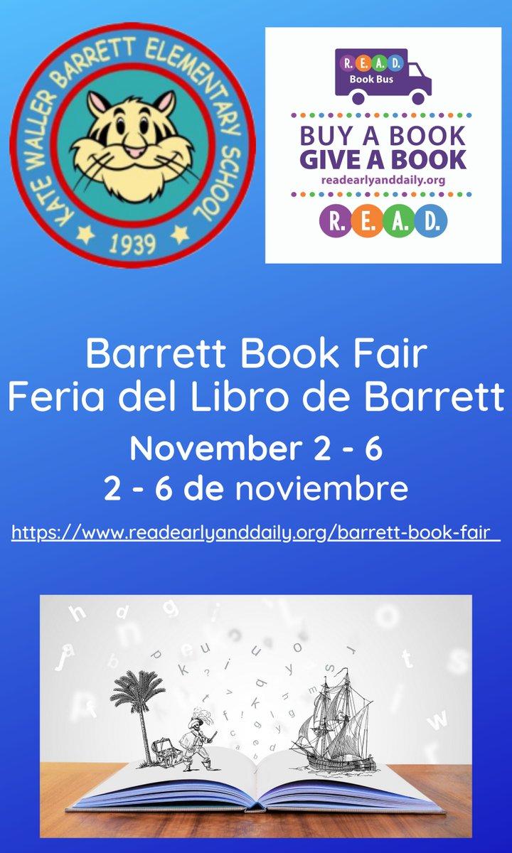 ¡La Feria del Libro Barrett comienza la próxima semana! Gracias a nuestro increíble <a target='_blank' href='http://twitter.com/ReadEarlyDaily'>@ReadEarlyDaily</a> y <a target='_blank' href='http://twitter.com/PajamaMamaJSP'>@PajamaMamaJSP</a> <a target='_blank' href='http://search.twitter.com/search?q=kwbpride'><a target='_blank' href='https://twitter.com/hashtag/kwbpride?src=hash'>#kwbpride</a></a> <a target='_blank' href='http://twitter.com/BPTASP'>@BPTASP</a> <a target='_blank' href='http://twitter.com/KWB_Familias'>@KWB_Familias</a> <a target='_blank' href='http://twitter.com/KWBdicabus'>@KWBdicabus</a> <a target='_blank' href='https://t.co/4ABz8rkAk6'>https://t.co/4ABz8rkAk6</a>