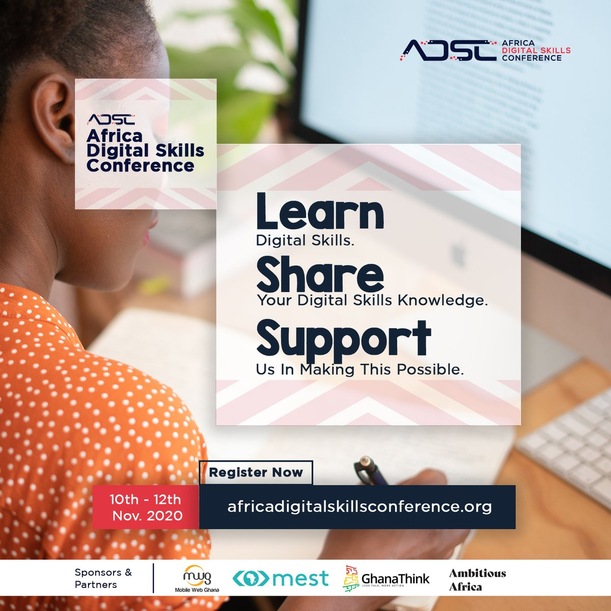 #ADSC2020 is a three-day virtual conference providing students, entrepreneurs, institutions, and the youth at large in Ghana and Africa with an opportunity to teach and learn basic digital skills and new technologies! Join us here https://t.co/UU6P4ZlCpR https://t.co/QNkhTGqMk3