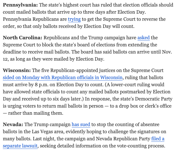 Solid and astonishing roundup in the @nytimes morning briefing of the many GOP efforts underway explicitly to make it harder for people to vote in this election. Not the GOP campaigning for its issues and candidates, but trying to stop people from voting altogether. https://t.co/SqPqIQb4tB
