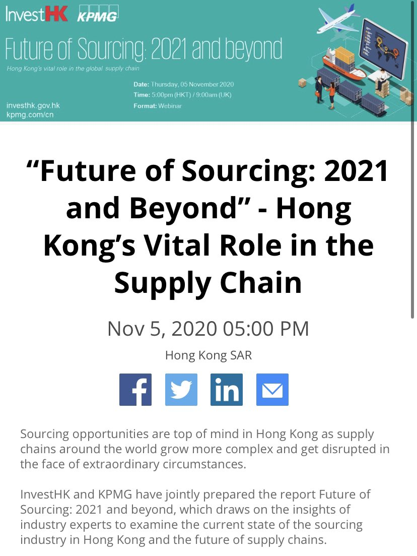 In partnership w/ @KPMGChina, @InvestHK will celebrate the launch of Future of Sourcing 2021 paper 🎉  If you are looking at expanding into #Asia #GBA via #Hongkong or offering #retail #sourcing #supplychain solutions, sign up for our webinar on Nov 5 👉 https://t.co/Ty3lNvzoXU https://t.co/fzcKHwQBls