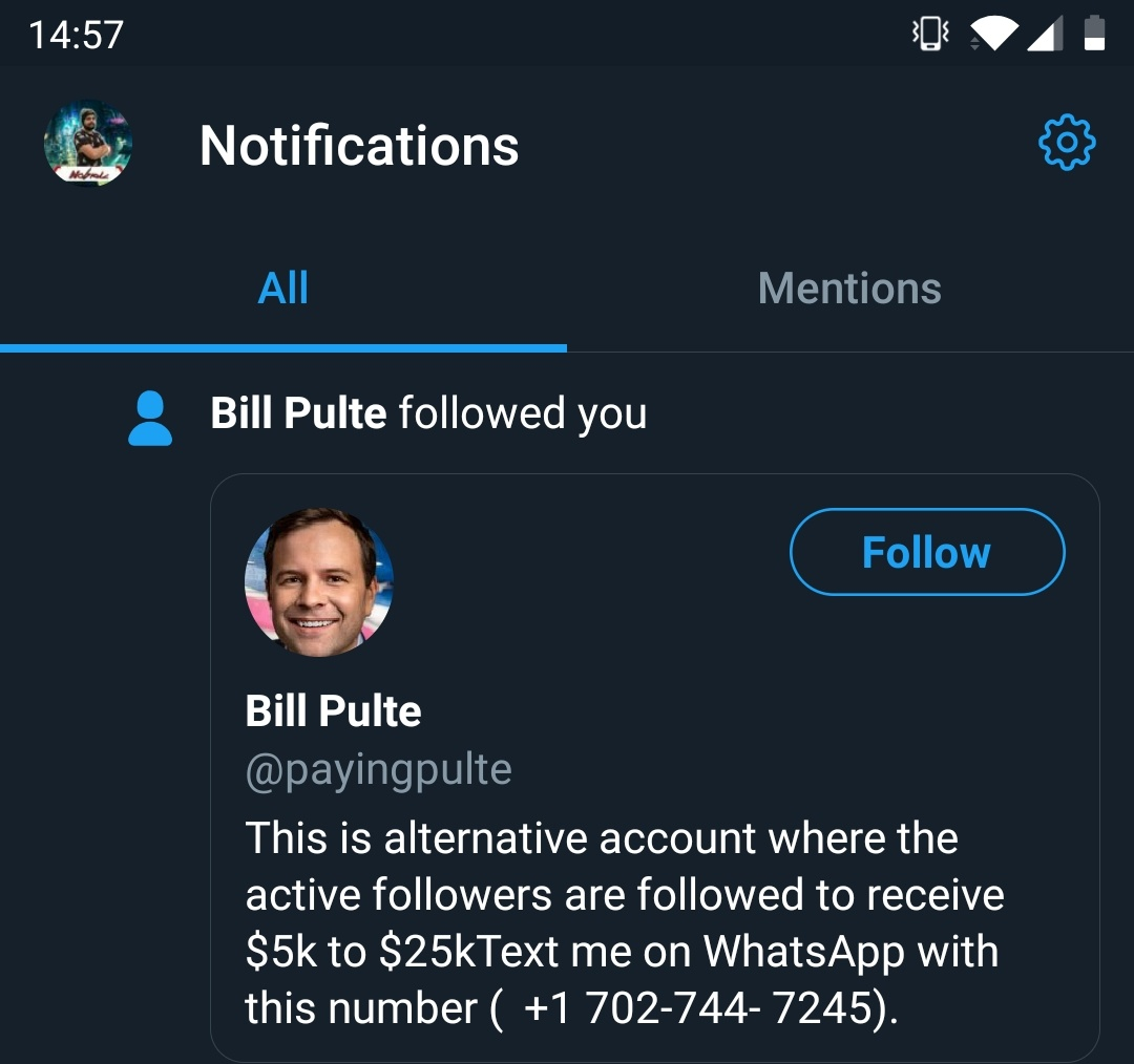 Nobruc - I got an heart attack @pulte. But it was a fake account. Be careful everyone