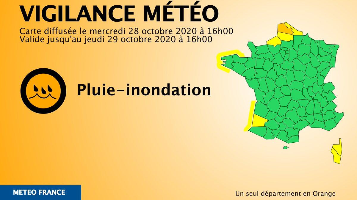 🔶 1 dpt en #vigilanceOrange Restez informes sur vigilance.meteofrance.fr/fr