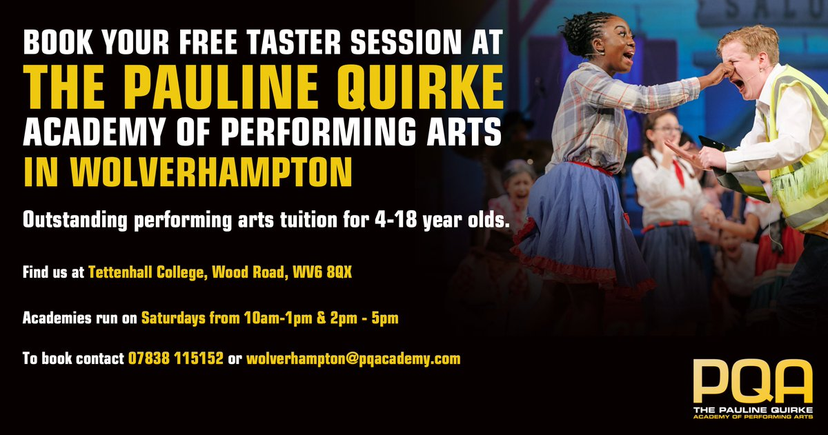 Can't drama or film at school/college? PQA Students study and make films, perform in the West End, Edinburgh Fringe and much more. Book a free taster session now by calling Julian on 07838115152 or email wolverhampton@pqacademy.com. #Wolverhampton #Acting #Drama #MusicalTheatre https://t.co/aZcmS3sXeG
