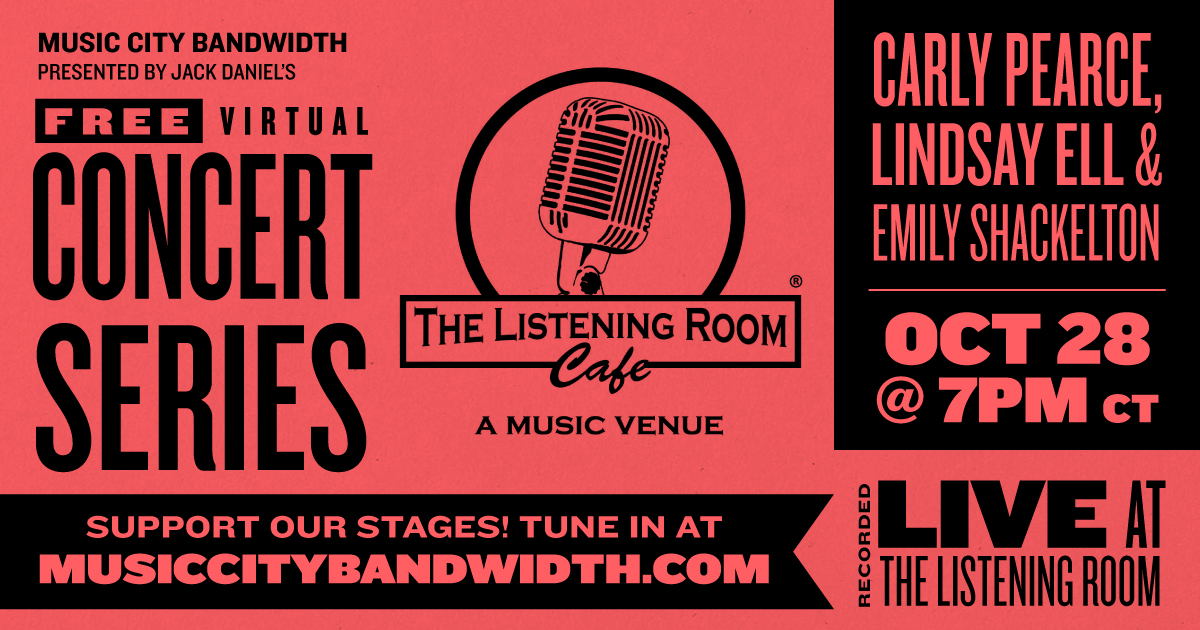 Get through the mid-week with @carlypearce, @lindsayell, @EmilyShackelton 🌟Tune in at 7pm CT to see the show live from @listeningroom 👉 musiccitybandwidth.com - #keepthemusicplaying #saveourstages #keepindielive615 #nashville #keep615live #musiccity #musiccityusa #nashvilletn