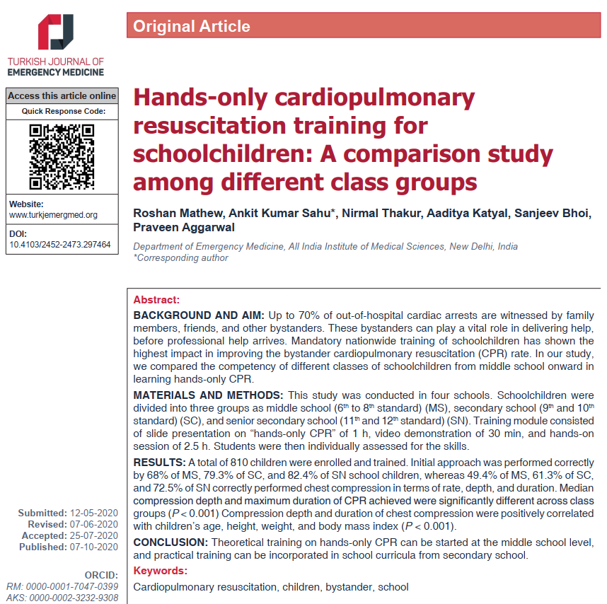 Article 2020/4 Issue: Mathew et al. Hands-only cardiopulmonary resuscitation training for schoolchildren: A comparison study among different class groups #TurkJEmergMed #FOAMed #MedEd #EmergencyMedicine #EvidenceBasedMedicine #OriginalArticle Full text: https://t.co/2GaPqwdT8x https://t.co/kHNJCuK5r2