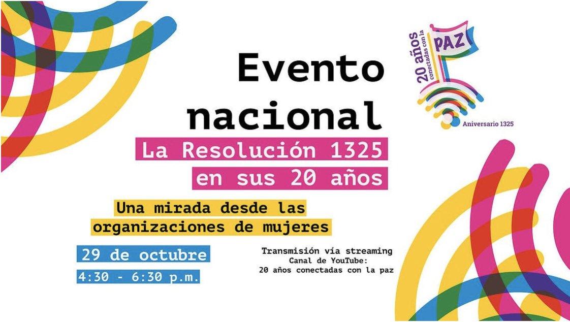 #20AñosConectadasConLaPaz Mañana, 29 de octubre 🗓️, a las 4:30 p.m ⏰ conmemoramos el aniversario #20 de la Resolución 1325 sobre mujeres, paz y seguridad 🙋♀️🕊️🌎.  Conéctate con el evento #EnVivo  👉📹https://t.co/xxhmrvMjjc https://t.co/Joi99NM6DI