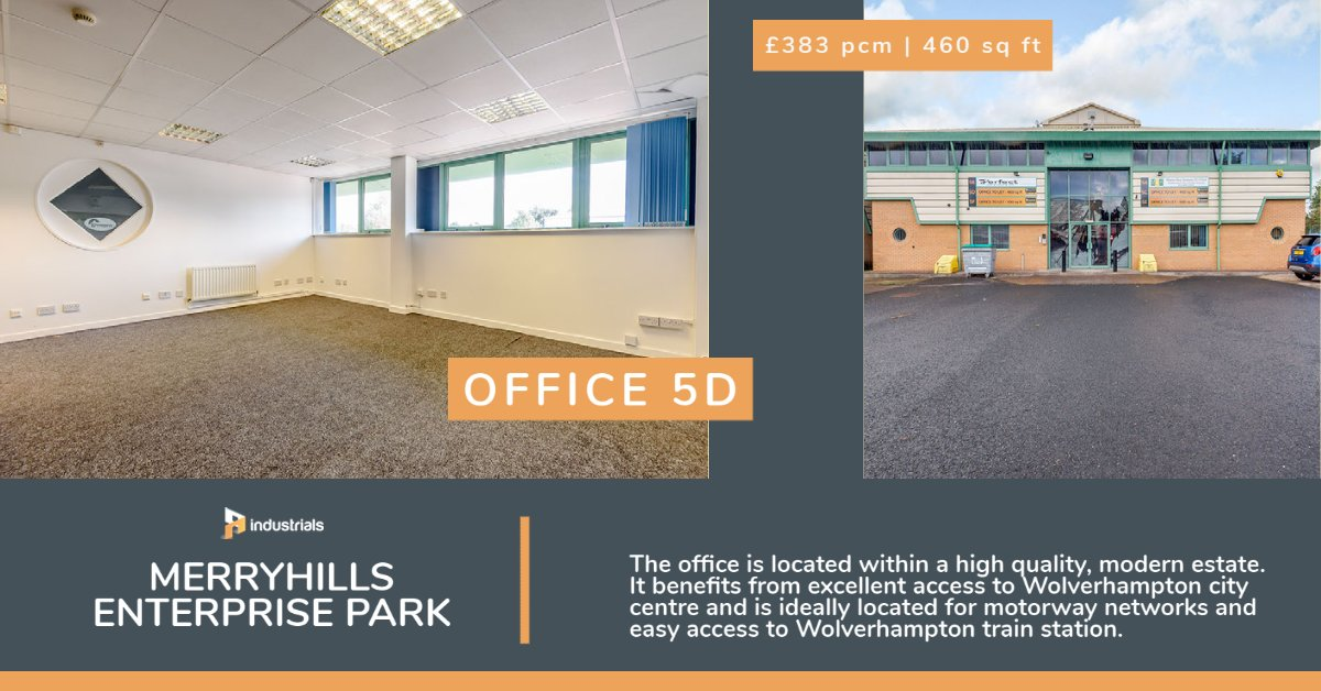 Office 5D 460 sq ft Merryhills Enterprise Park, Wolverhampton is located within a high quality, modern estate. It benefits from excellent access to Wolverhampton city centre.   https://t.co/gPXvt9BPQ1   #industrials #commercialspace #wolverhampton #officespace https://t.co/paXv27g9eV