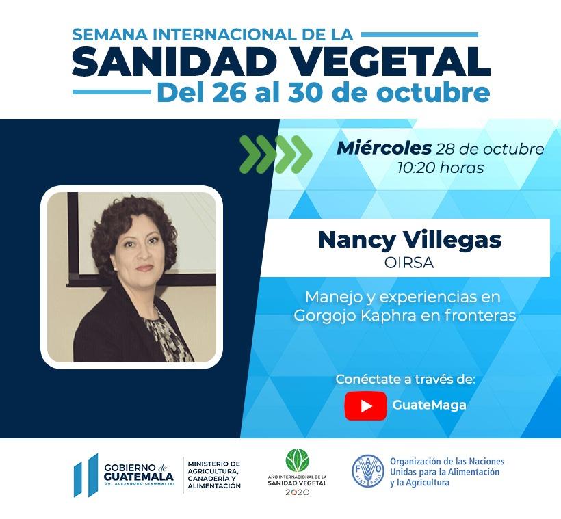 #EnVivo 🔴  La coordinadora de la Unidad Regional de Análisis de Riesgo 🔎 del @OIRSAoficial, Nancy Villegas, realiza una presentación sobre el manejo y experiencias en Gorgojo Kaphra en fronteras 👉🏽 https://t.co/ABoHmRtyKC vía @MagaGuatemala 🇬🇹 https://t.co/CY4VWgjpC9