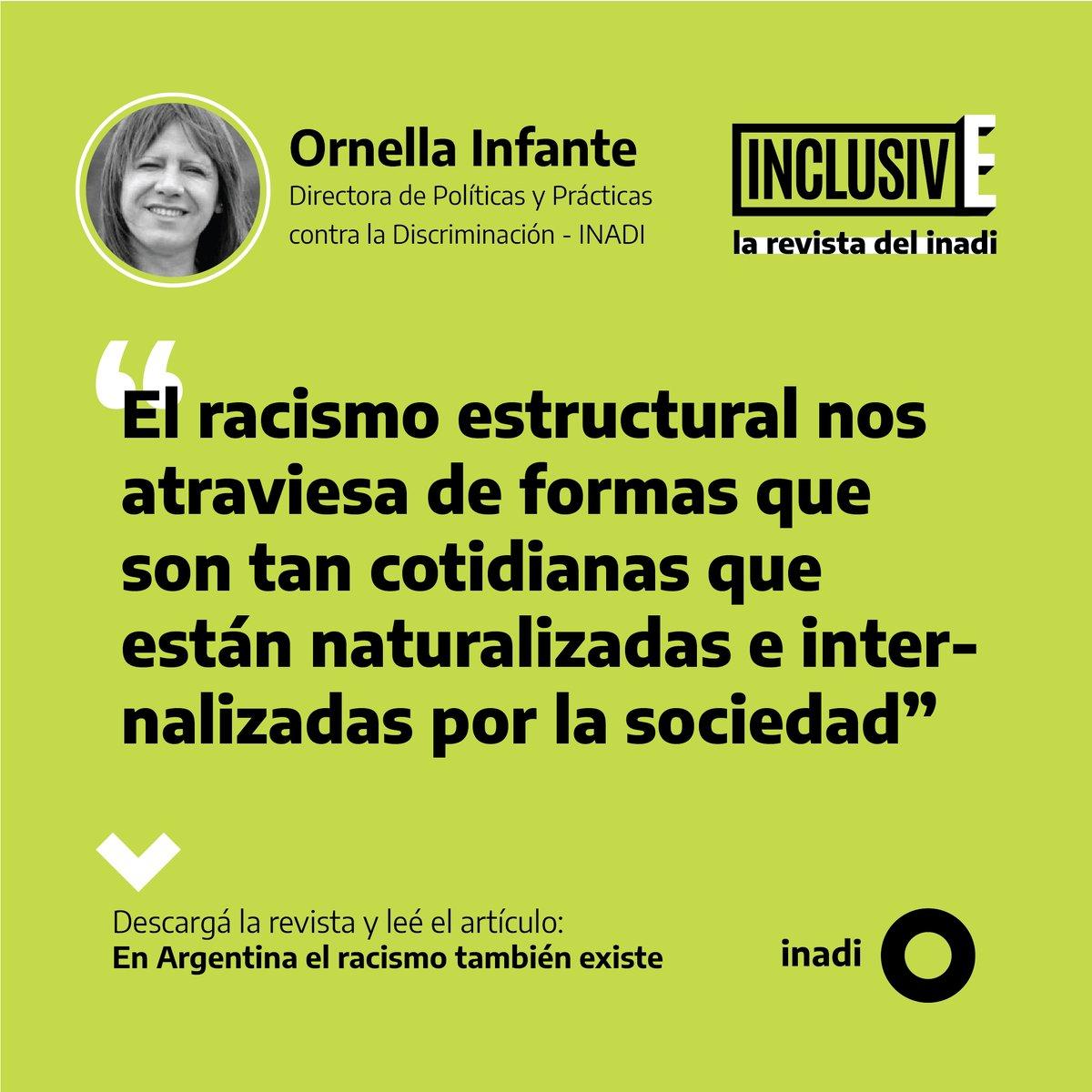 En el primer número de INCLUSIVE, la revista del INADI, nos preguntamos si no hay racismo en la Argentina.  Leé la nota de @OrnellaInfante, directora de Políticas y Prácticas contra la Discriminación del Instituto, sobre el tema  Descargá INCLUSIVE acá 👇🏼  https://t.co/jQsgnVwu8F https://t.co/dCsUDZpNRT