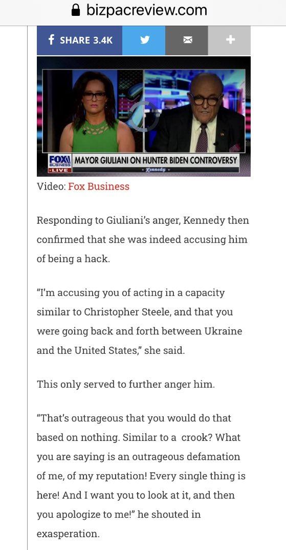 @FoxNews 's Lisa Kennedy Montgomery OWES @RudyGiuliani A HUGE APOLOGY .  #Bobulinski is a hero!!!!!  @TheFive @OutnumberedFNC @foxnewspolitics https://t.co/MSRJS0ewQE