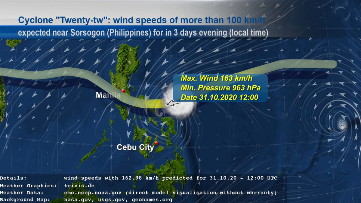 """#weatherupdate on Cyclone """"#Twentytw"""": EMC GFS data contains #weather of type """"#Storm"""" with wind speeds of more than 100 km/h near #Sorsogon (#Philippines) for in 3 days evening given in local time. The wind speeds with 163 km/h are expected for 31.10.20 - 12:00 UTC. https://t.co/ipCJgpDyTf"""