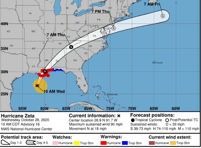 Tropical STORM   ZETA 11 AM EDT  Winds 90 mph,   moving  N  at 18 Pressure 976 mb S Forecast maps and Radar at    https://t.co/CzaAX0PkEC  #wx #news #weather #storm #Hurricane #tropical  #wind #warnings #flood #tropics #wind  #watches #flood #Zeta #gulf https://t.co/ujv0yhSHUm