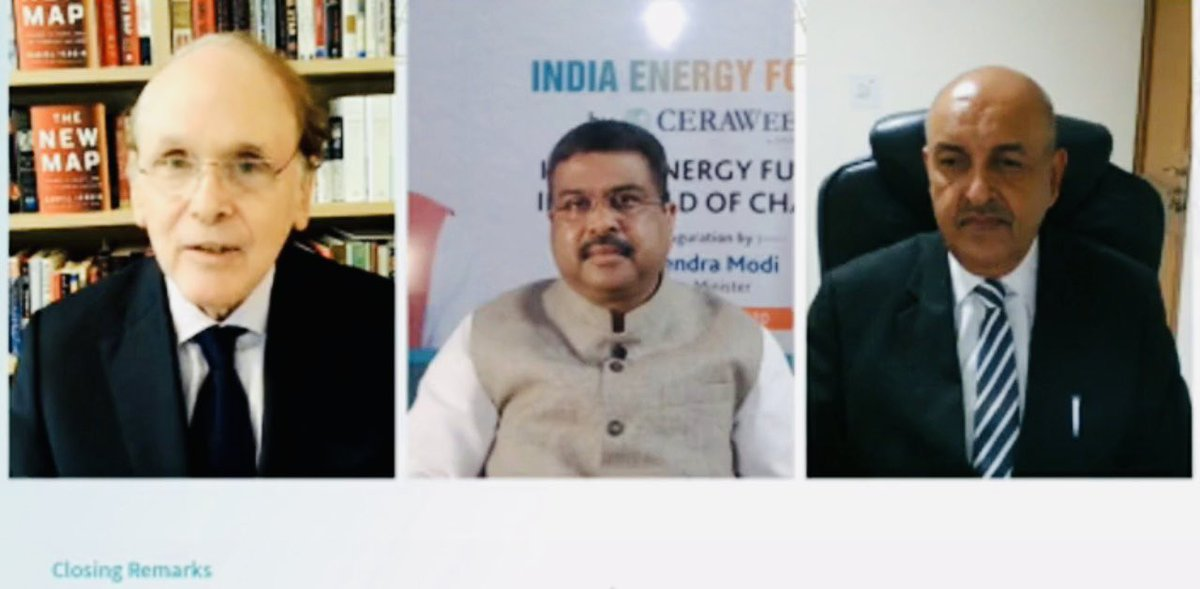 Min. @dpradhanbjp also thanked HRH Prince Abdulaziz, Min.of Energy,Saudi Arabia, HE @SecBrouillette,US Secy. of @ENERGY,key stakeholders, such as Dr.@IEABirol, Barkindo-SG OPEC, HE #SultanAlJaber and FM @nsitharaman & Rail Min.@PiyushGoyal for their participation at the #IEF2020 https://t.co/47kubuZySv