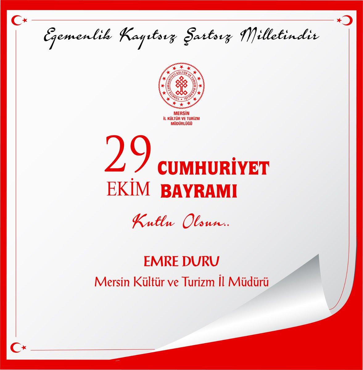📌Cumhuriyet Bayramımız kutlu olsun 🇹🇷🇹🇷🇹🇷 #MersinKulturveTurizm @MehmetNuriErsoy @lutfielvan https://t.co/oGKVuT9Gjh