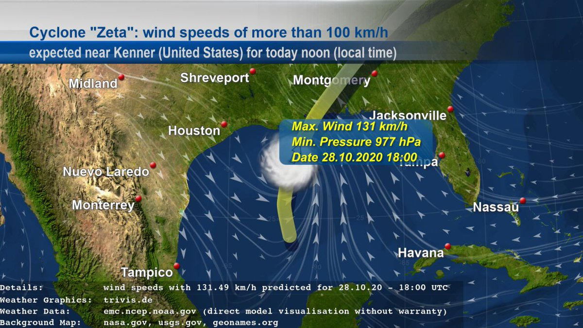 """We also follow Cyclone """"#Zeta"""". EMC GFS data contains #weather of type """"#Storm"""" with wind speeds of more than 100 km/h near #Kenner (#UnitedStates) for today noon given in local time. The wind speeds with 131 km/h are expected for 28.10.20 - 18:00 UTC. https://t.co/VnY28u0PBf"""