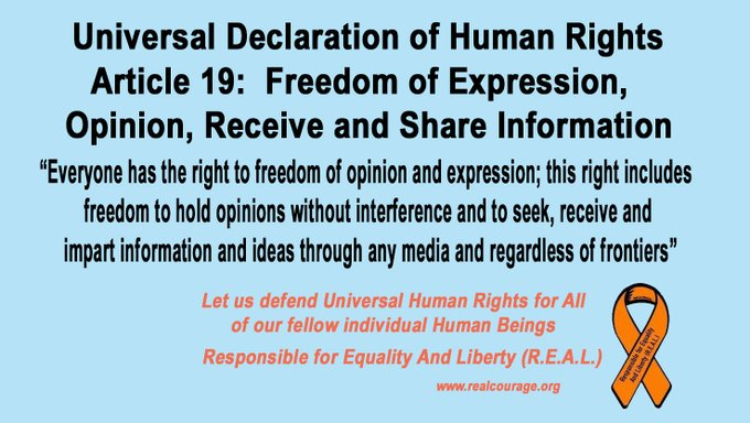 #FreedomOfExpression is part of Universal #HumanRights.  #FreeSpech rights are not just for speech we like and by those like us, but a universal human right for ALL. #UDHR #Article19 @jack @Twitter @Facebook @sundarpichai @Google https://t.co/aS3PIByZRe