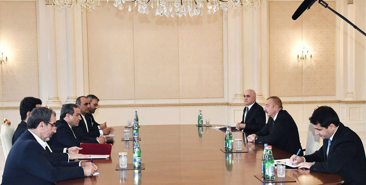Introduced Irans Regional Initiative to Help in Ending the Nagorno-Karabakh Conflict to H. E. Ilham Aliyev President of Azerbaijan in a positive and constructive long meeting.