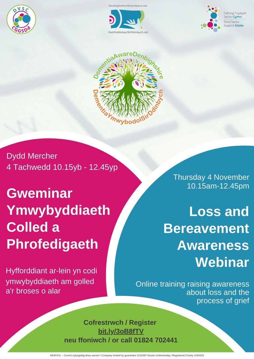 Join us for a #webinar in partnership with @CruseNorthWales on 4/11: Loss & #Bereavement Awareness  Learn how #grief can affect day to day interactions and look into feelings of loss carers experience when someone develops #dementia.  Sign up today: https://t.co/mEF2p4s97V https://t.co/DaJCmErnWI