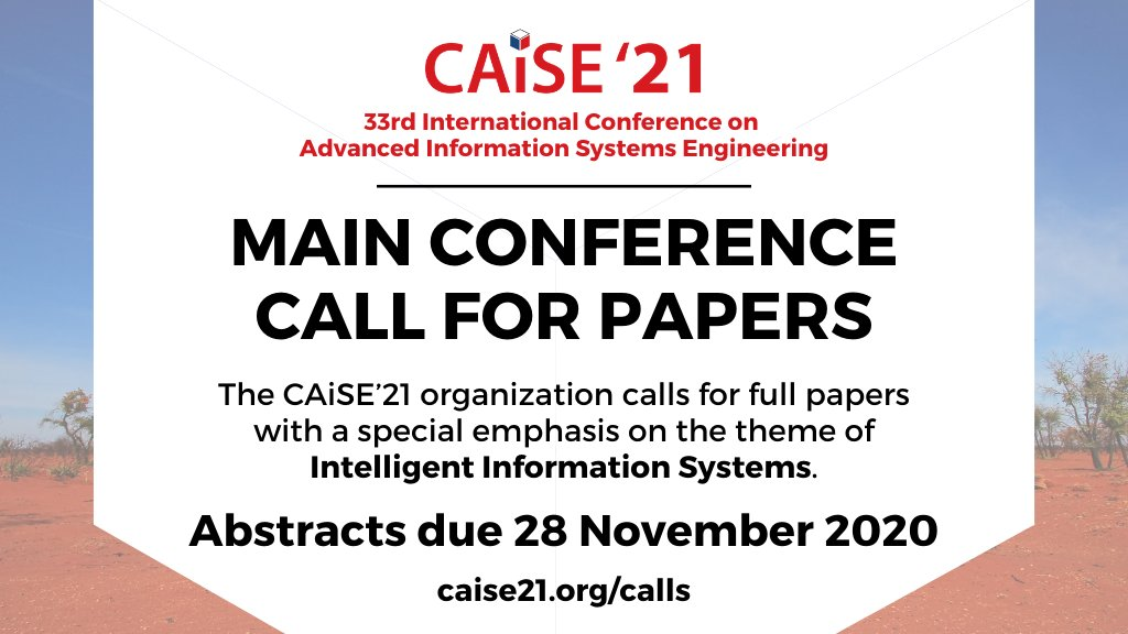 28 Nov is the deadline to submit your abstract to the main research track of @CAiSEConf. Time to polish it and press that button on EasyChair!