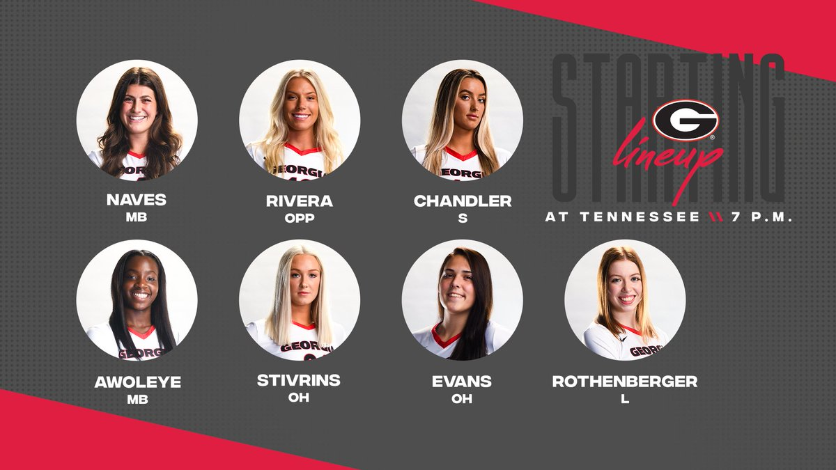 The starting lineup is in for tonight's match at Tennessee!   Tune those TVs to ESPNU now!   🆚 Tennessee 📍 Knoxville ⏰ 7 p.m.  📺 ESPNU 🖥 https://t.co/0iaEygNTmh 📈 https://t.co/6OX5dCnTFX  #GROW | #GoDawgs https://t.co/1cN6d6Hi38