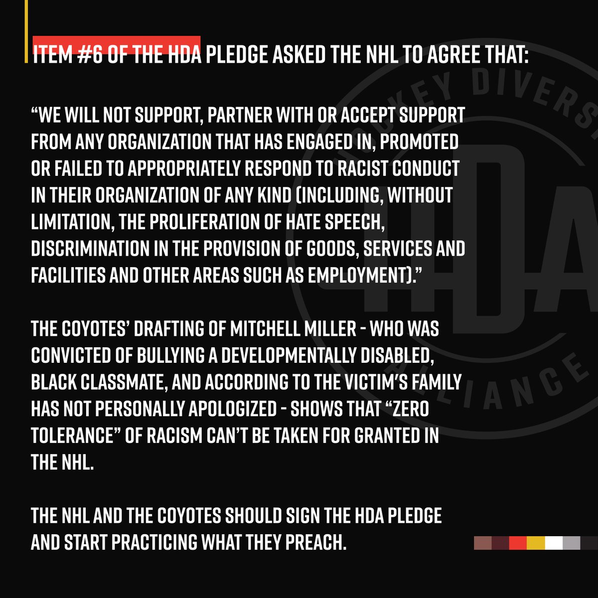 .@NHL and @ArizonaCoyotes should sign the #HDAPledge and start practicing what they preach.