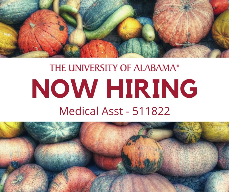 Medical Asst - 511822 For more details and to apply, go to: https://t.co/8kJFvRCwdR #rolltide #UA #NowHiring #Work4UA #Jobs4Vets https://t.co/r3N3BxfwCk