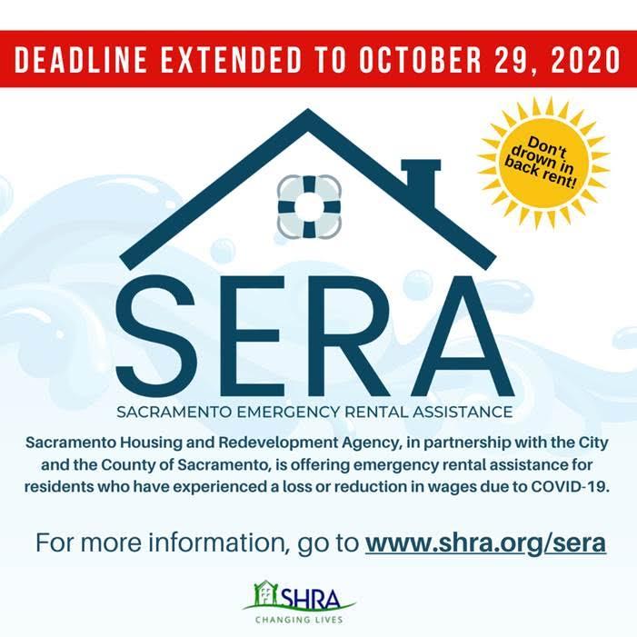 Great news: The Sacramento Emergency Rental Assistance deadline was extended to 10/29/2020 #rentalassistance #resources #RENT #Sacramento #SacCounty #Sacramentoproud #SERA https://t.co/7LmAWFzIMc